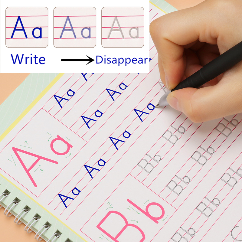 Free Gift Concave Magic Writing Paste Children Books Kids Educational Learning English Word Copybook Calligraphy Handwriting