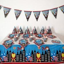 Avengers theme birthday party cutlery set decoration straw childrens teen boy