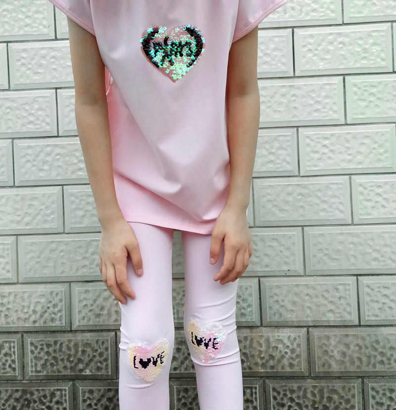 Bambini Set Abbigliamento Ragazze di Estate Paillettes del vestito Della Stampa di Cotone Manica Corta T-Shirt + Pants 2Pcs Vestiti Delle Ragazze 4 5 6 8 10 12 anni