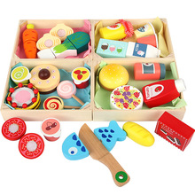 Wooden Cutting Cooking Food Toy Set Wooden Box Magnetic Wood Vegetable Fruit Toy Pretend To Play Kitchen Kit Toy Gift for Kids
