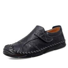 Split Leather Men's Shoes Velcro Men Leather