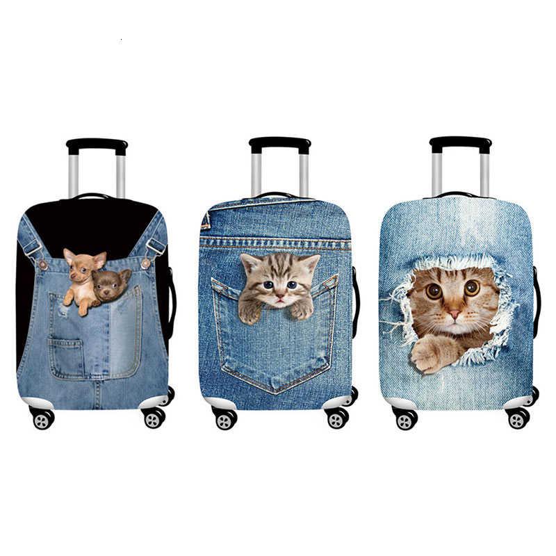 Cowboy gato cão engrossar mala capas de proteção para 18-32 Polegada mala caso mala de viagem saco de bagagem trole elástico capa de bagagem