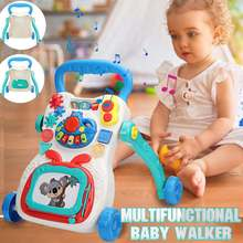 Baby Walker Multifunctional Infant Stand-to-Sit Toddler Four Wheels Trolley Kid Learning Walking Toddler Toy Piano Drawing Gift