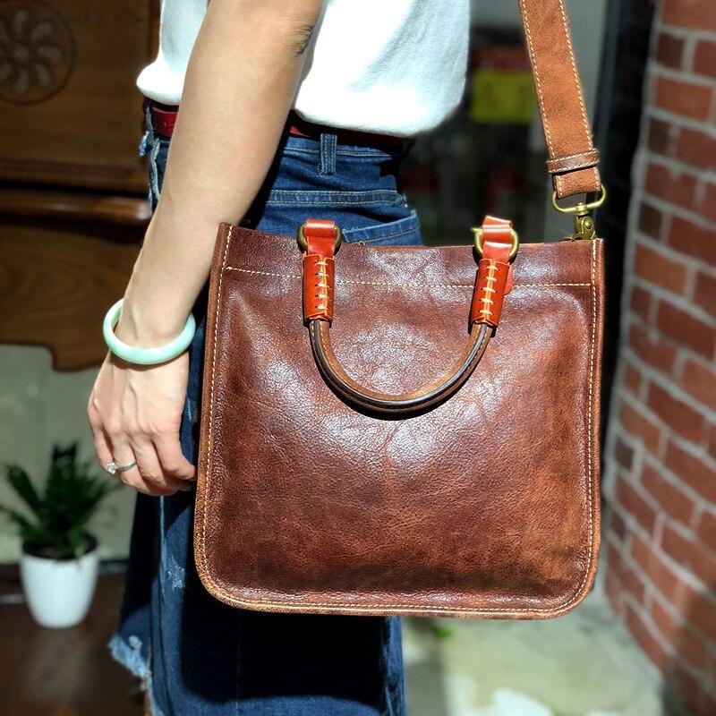 Nouveau Style original fait à la main sac femmes rétro en cuir véritable main multi-fonctionnelle épaule première couche femmes en cuir de vache Ba