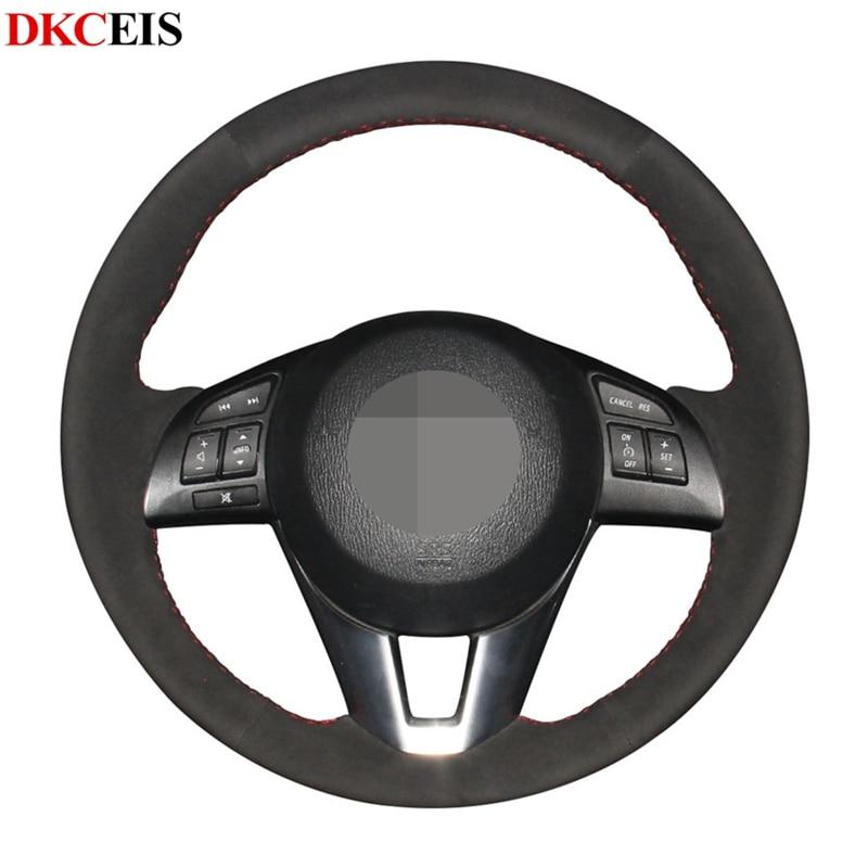 Hand-stitched Black Soft Suede Car Steering Wheel Covers Wrap for Mazda 6 Atenza Mazda 3 Axela Mazda 2 CX-3 CX-5 Scion iA 2016