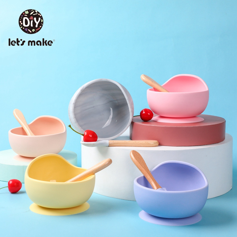 Let's Make Children's Tableware Silicone Baby Feeding Bowl Set Spoon Easy To Clean Soft Pink Food Plate Bamboo Dishes For Games