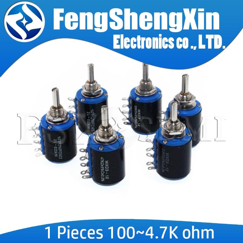 1pcs WXD3-12-1W 100 220 470 K 2K2 1 3K3 4K7 47 33 22 10K K K K Ohm 100R 220R 470R 2.2K 3.3K 4.7K WXD3-12 1W Wirewound Potenciômetro