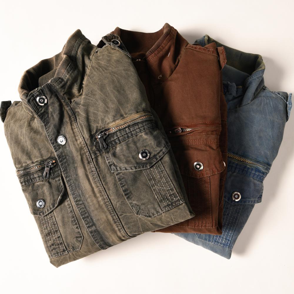 Image 5 - Denim Jacket Men Retro Cowboy Casual Coats Mens Windbreaker Tactical Military Cargo Bomber Jeans Jackets European Size Chaquetas-in Jackets from Men's Clothing