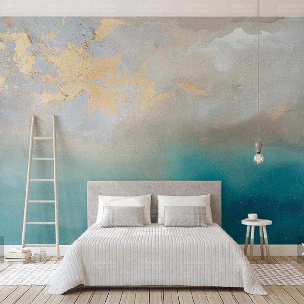 Abstract Wallpaper Blue Sea Gold Murales HD Photo Wallpapers Hand Painted Home Wall Art Decals Decor Wall Mural Canvas Prints 3D