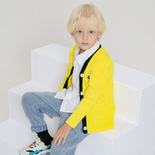 2019 children clothing wool coat autumn and winter new boy's knit cardigan Korean version of the V-neck cartoon children jacket brand children s clothing in the big girl wool coat autumn and winter children s long section of the red double breasted trench