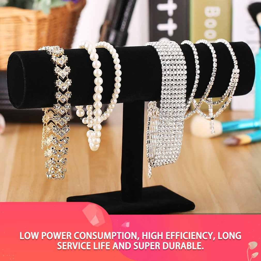 Black Velvet/Leather T Bar Jewelry Rack Organizer Hard Stand Holder for Bracelet Chain Necklace Watch Fashion Jewelry Display