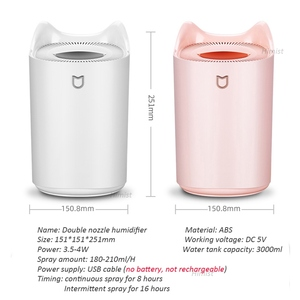 Image 2 - Domowy nawilżacz powietrza 3000ML podwójna dysza fajna mgła rozpylacz zapachów z kolorowym światłem LED ciężka mgła ultradźwiękowy USB Humidificador