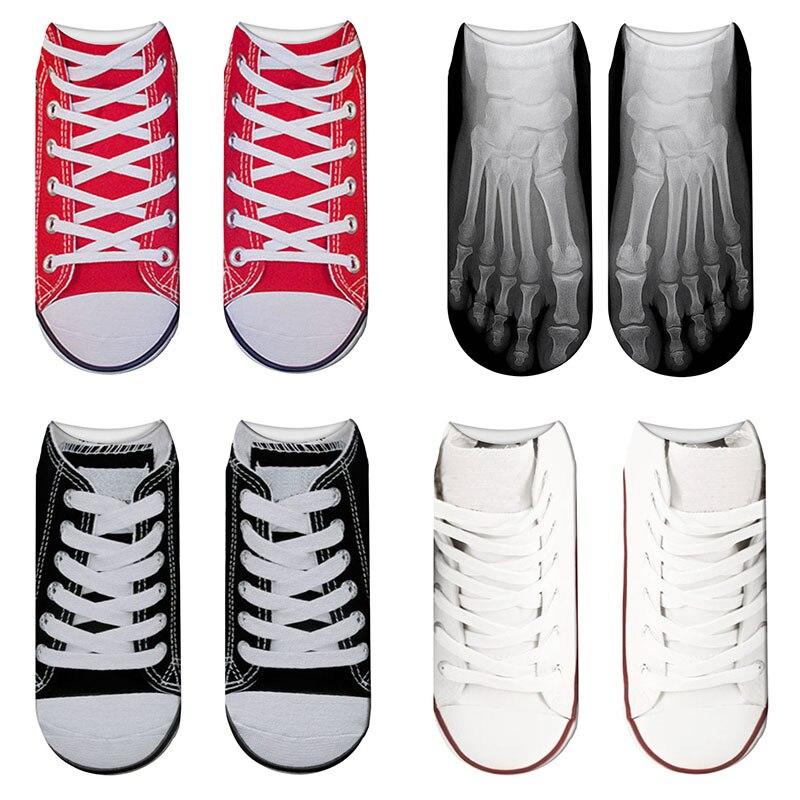 New Hot 3D Printed Funny Skeleton Skull Canvas Shoes Socks Women Cute Happy Kawaii Short Sock Black Red Child Low Ankle Socks