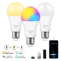 Regulable 12W E27 WiFi inteligente bombilla de luz RGB + blanco cálido con Homekit Dohome Asistente de Google Alexa Control despierta inteligente de la lámpara