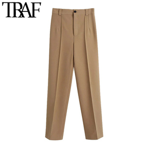 Женские модные прямые брюки со швом TRAF, винтажные офисные брюки на молнии с высокой талией, женские брюки