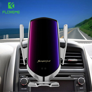 Image 1 - Automatic Clamping Car Wireless Charger 5W Quick Charger For iPhone 11 Samsung Huawei P30 Qi Infrared Sensor Car Phone Holder