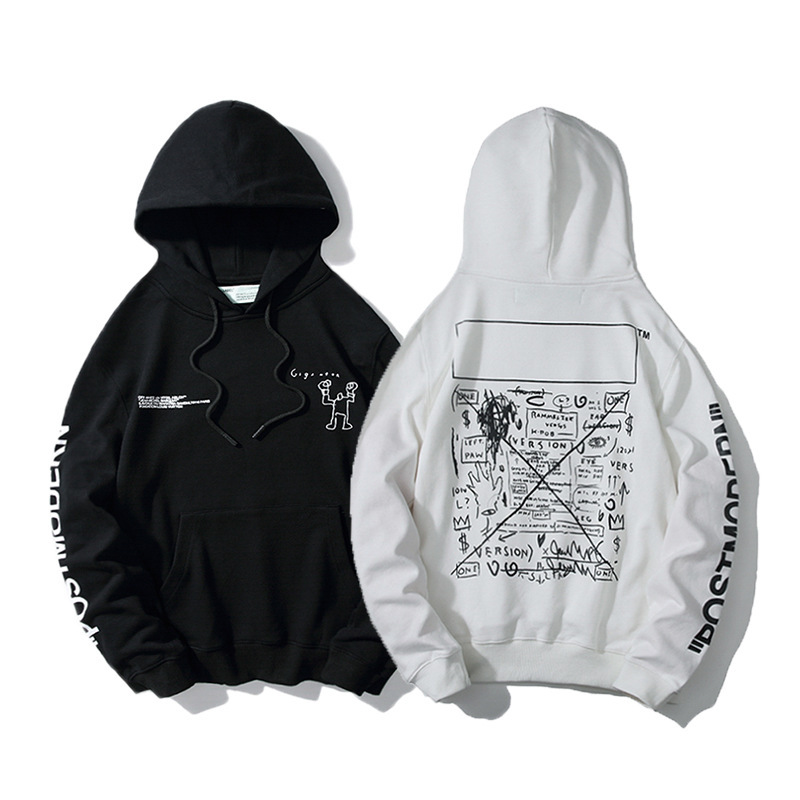 Off Ow White 19 Autumn And Winter Robot Tu Ya Kuan Men And Women COUPLE'S Hooded Pure Cotton Loose-Fit Hoodie Fashion