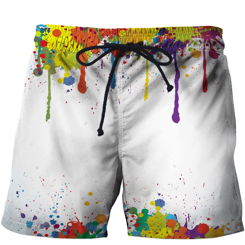 New Fashion Colorful Painting Board Shorts Men Summer Cool Beach Shorts For Male Quick Dry Sport Surfing Shorts Drop Ship