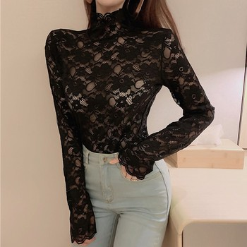 solid color long sleeve round collar skirt hem lace embellished t shirt for women Lace Hollow T-Shirt Women Fashion Solid Color Tops Lady High Collar Long Sleeve Jacquard T Shirts