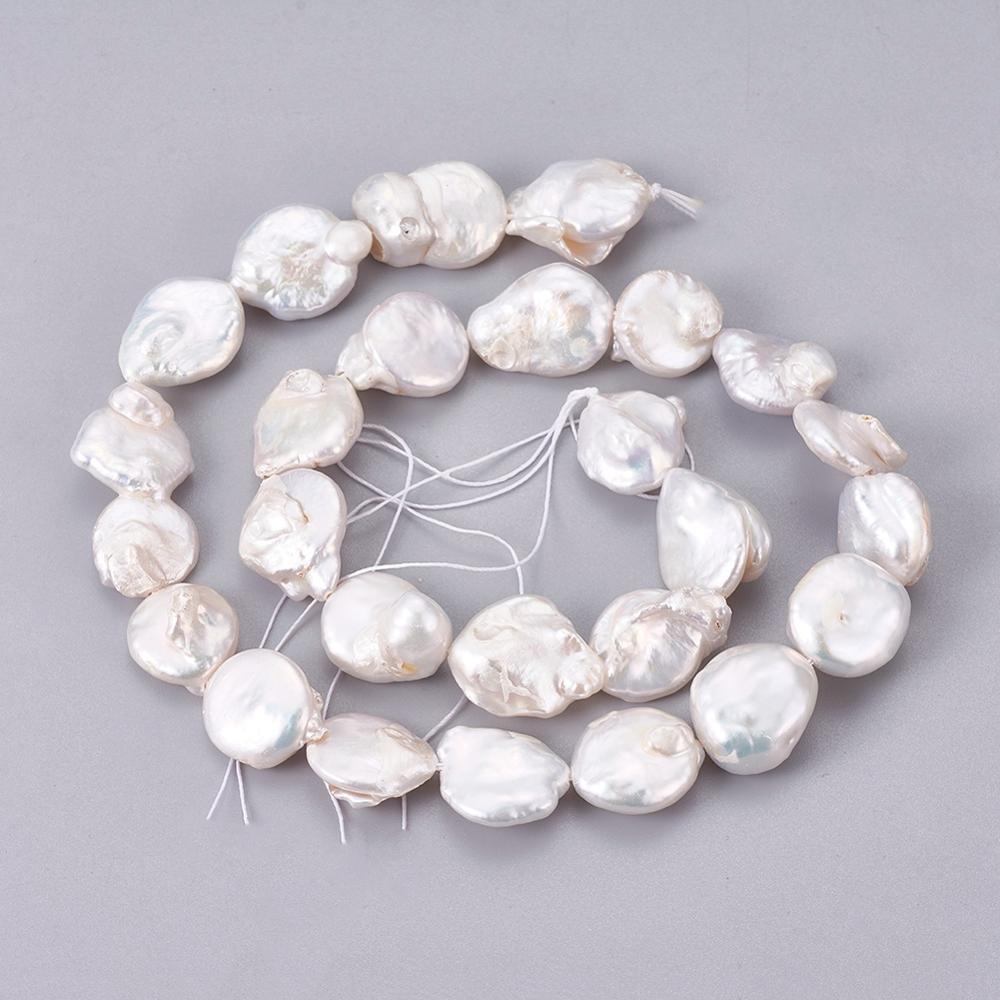 Природные Кеши жемчужные бусины, Плоские Круглые, AntiqueWhite, 12 ~ 13x4 ~ 7 мм, отверстие: 0,8 мм; около 27 шт/прядь, 14,96