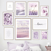 Mar púrpura, playa, caña, rosa, peonía, gaviota, cuadro sobre lienzo para pared, carteles nórdicos e impresiones de imágenes de pared para decoración para sala de estar