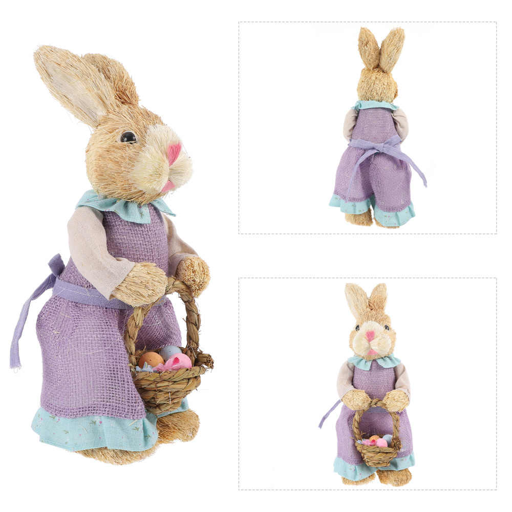 Animal Collection Bunny Decorations Holiday Ornament for Easter Theme Party Simulation Straw Bunny-Easter Creative Artificial Straw Rabbit for Home Garden