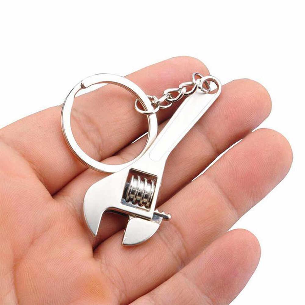 แฟชั่นเครื่องมือประแจ Spanner พวงกุญแจโลหะแหวนพวงกุญแจโลหะปรับผู้หญิงผู้ชายเครื่องประดับพวงกุญแจของขวัญ