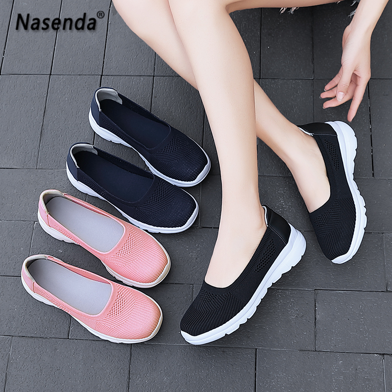 Summer Hot Sale Women Shoes Summer Casual Female Shoes Flat Bottom Slip on Walking Shoes Foe Woman Fashion Flats Walking Shoes