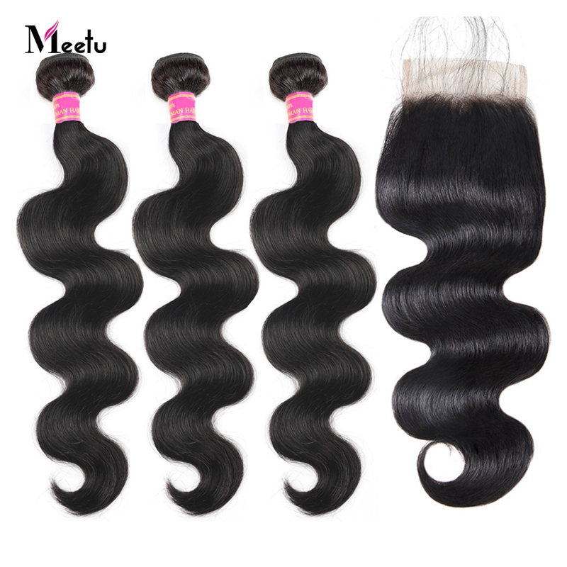 Meetu Body Wave Bundles With Closure Natural Black Peruvian Hair Bundles Non Remy Human Hair 3 Bundles With Closure Promotion