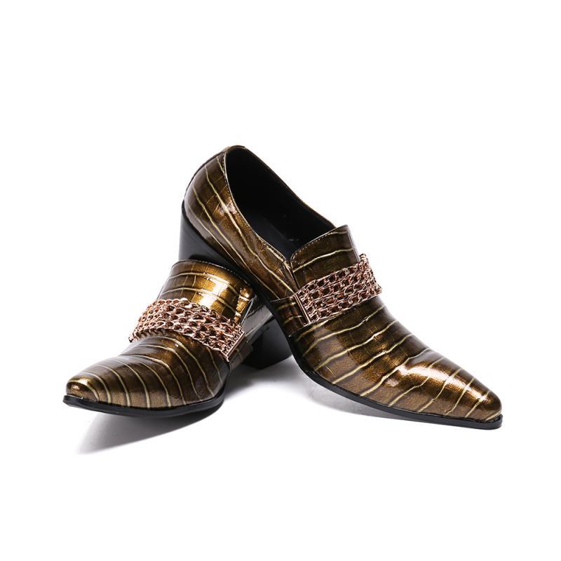 Мужские туфли с острым носком золотистого цвета мужские деловые туфли на высоком каблуке туфли без застежки Роскошные вечерние туфли смокинги из лакированной кожи; большие размеры 37 46 - 6