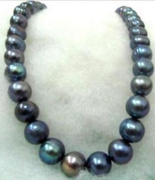 free shipping >>>>noble jewelry Freshwater 12-11MM natural BLACK blue PEARL NECKLACE 14k