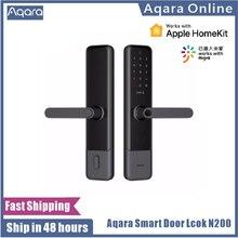 Aqara-cerradura de puerta inteligente N200, con huella digital, contraseña, Bluetooth, NFC, desbloqueo, enlace inteligente con timbre, funciona con Mijia Apple HomeKit