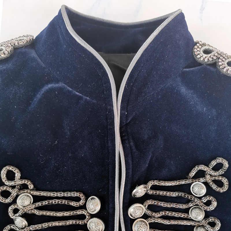 Nieuwe Mode 2019 Classic Designer vrouwen navy blue & gold kralen fluwelen blazers Jas Vrouwen winter korte Blazer groothandel