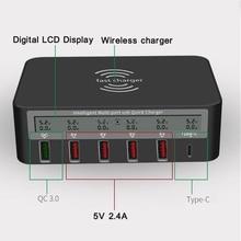 אוניברסלי 7 in 1 סוג C צ י אלחוטי מטען 5x USB QC 3.0 תשלום מהיר עם LCD מתח הנוכחי תצוגה עבור טלפון Tablet PCמטענים לטלפון נייד