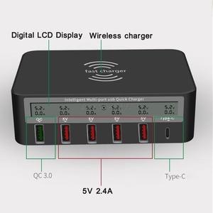 Image 1 - Универсальное беспроводное зарядное устройство Qi 7 в 1, 5x USB QC 3,0, быстрая зарядка, ЖК дисплей с отображением тока, для телефона, планшета, ПК