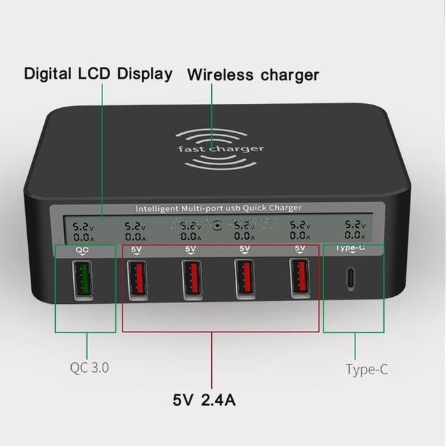 Универсальное беспроводное зарядное устройство Qi 7 в 1, 5x USB QC 3,0, быстрая зарядка, ЖК дисплей с отображением тока, для телефона, планшета, ПК