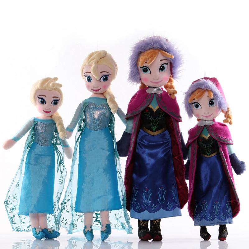 Frozen 50 CM Anna Elsa Plush Doll Toys Cute Girls Toys Snow Queen Princess Anna Elsa Doll Girl Birthday Gifts