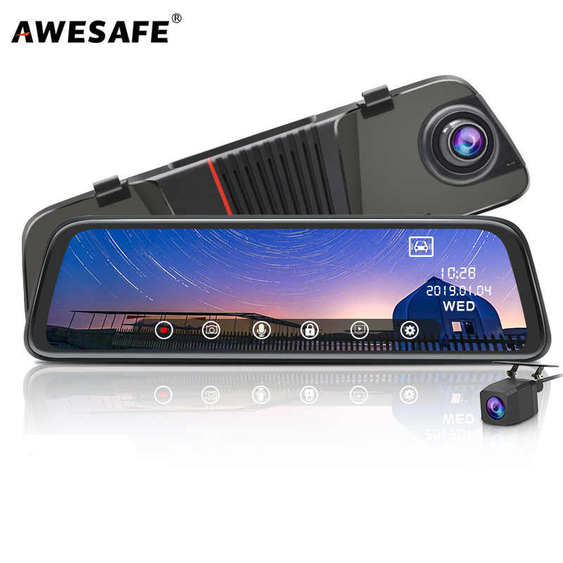 AWESAFE New FHD 1080P Dash Cam Car DVR Camera Stream RearView Mirror 10'' IPS 2.5D Drive Video Auto Recorder Night Vision