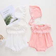 Newborn Baby Girl Rompers Cotton Infant Toddler Jumpsuit Hat Set Clothes Romper Baby Girls Summer Kid Bebe Fashion Cute Clothes ruffled flower baby rompers summer newborn baby costumes kids jumpsuit toddler baby girl romper ropa bebe clothes polo outfits