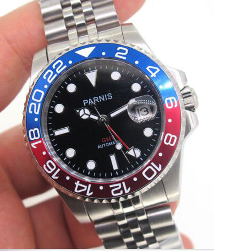Fashion Parnis 40mm Mechanical Men Watches Red GMT Sapphire Crystal Man Diver Men's Watch Automatic Top Luxury Brand 2019 Clock