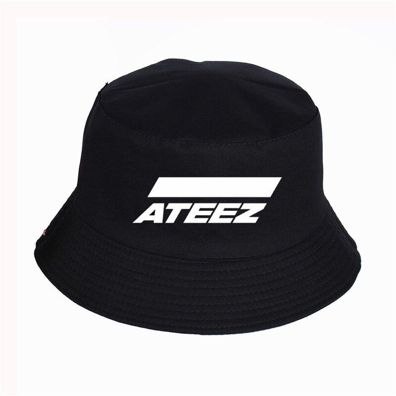 ATEEZ Bucket Hat ATEEZ Kpop Summer Faceless Cap Panama Cotton Double Layer Fabric Sunscreen Hats Women Men Fisherman Hat
