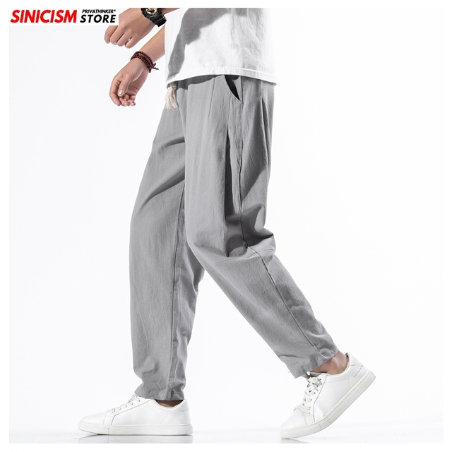 Sinicism Store Solid Spring Harem Pants Men Summer Fitness Jogger Pant 2020 Male Fashion Pants Chinese Style Trousers Bottoms 31