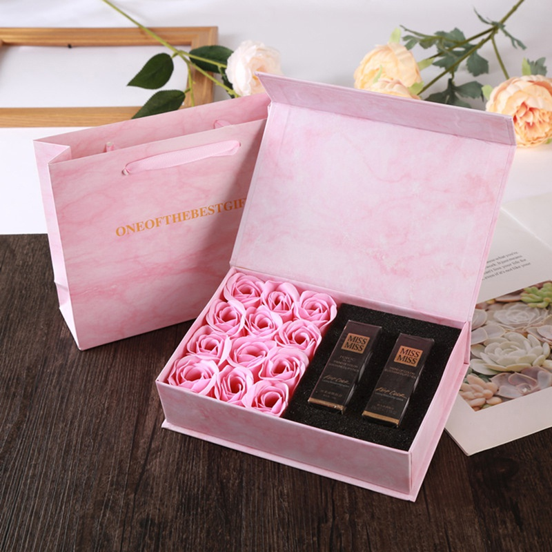 Soap Rose Lipstick Gift Box 16PCs Flower Handmade Soap Boxes Party Present Gift Packaging Box