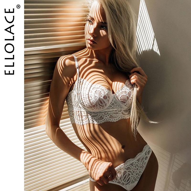 Ellolace New Underwear Bra Set Lingerie Sets Women 2 Piece Party Set White Black Basic Female Bodycon Lace Women Deep V Brassie
