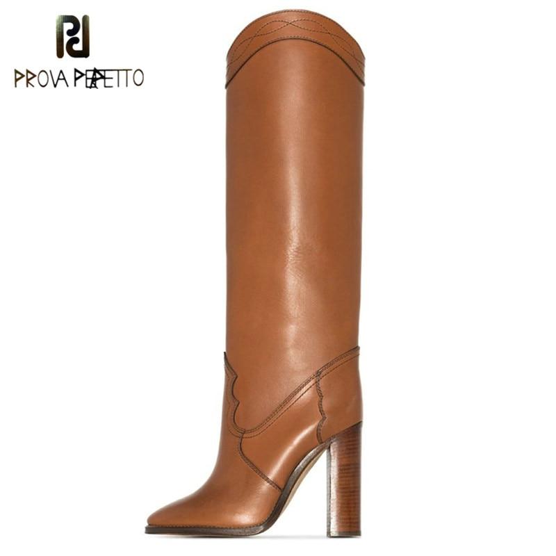 Outono e inverno novas botas de joelho alta qualidade couro genuíno apontado toe saltos grossos mulher botas preto marrom botas mujer 2020