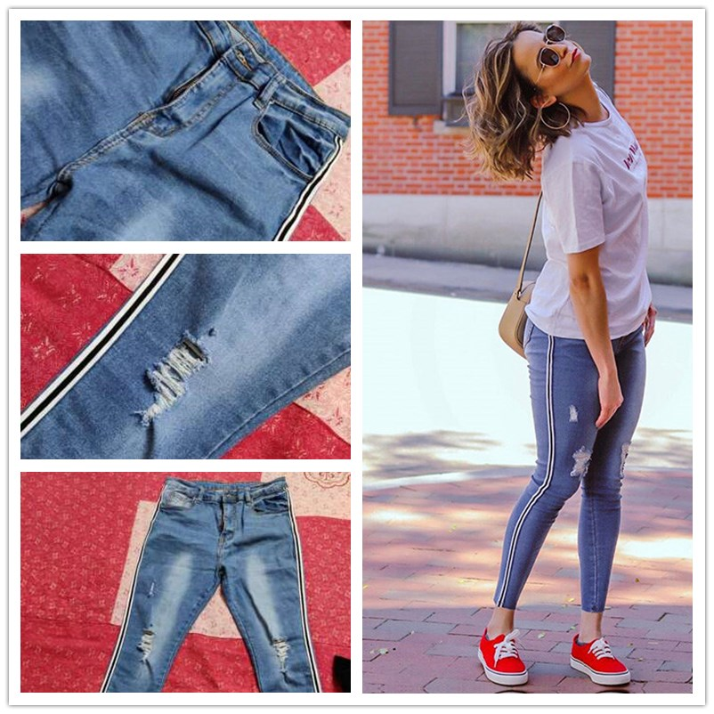 SweatyRocks Stripe Side Ripped Skinny Jeans Leisure Stretchy Long Denim Pants 19 Spring Women Streetwear Casual Blue Jeans 7