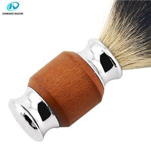 Image 4 - Haward escova de barbear para homens, badger puro, madeira e zinco, alça de liga, espuma, escova de barbear profissional escova