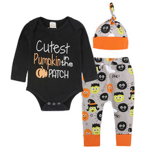 Newborn Baby Boys Girls 3PCS Clothing Sets Fashion Baby Letter Print Tops T-shirt Pants Headband Outfits Clothes Baby Clothing
