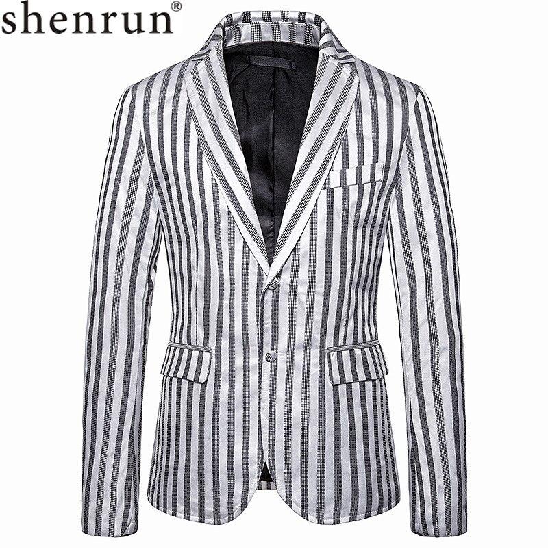 Shenrun Men Blazers Stripe Suit Jacket Slim Black White Light Grey Gray Gold New Fashion Groom Jacket Singer Host Stage Costumes