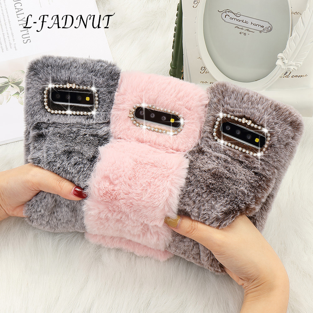 L-FADNUT Plush Fur Bracelet Fluffy Phone Case For Samsung Galaxy Note8 Note9 S10e S7 edge S9 Plus S9 S8 Bumper Diamond Cover image